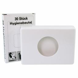 Distributeur de sachets hygiéniques, en plastique blanc/chromé